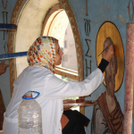 Muslimn working on a Christian Icon